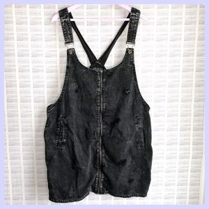 Forever 21 Black Distressed Overall Dress